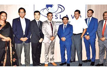 The SLAVO committee: From left - Ms. Asmara Hamin, Saliya Senanayake, Stuart Zhu, Capt. Mohit Chaturvedi, Shamal Perera (President, SLAVO), Arjuna Hettiarachchi, Mevan Peiris and Marius Gomez.