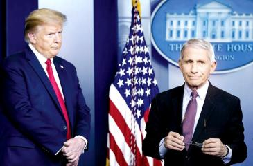 Dr. Anthony Fauci in conversation with US President Donald Trump