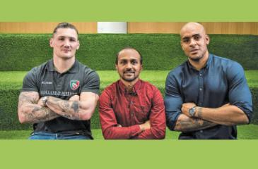 Saabir Cader flanked by Guy Thompson of the Leicester  Tigers (left) and Tom Varndell (England, Leicester and Wasps)