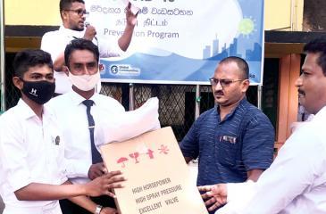 Handing over personal protective equipment