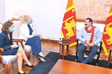Ambassador of Norway to Sri Lanka Trine Jøranli Eskedal and her delegation meet  Prime Minister Mahinda Rajapaksa