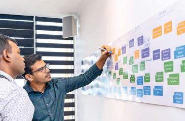 99X Technology CTO Hasith Yaggahavita (left) and Chief Product Officer Chatura de Silva at the ideation stages of the Winning Product portal