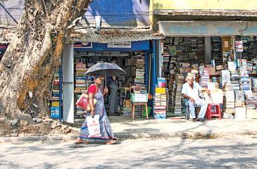 An array of bookshops along  D.R. Wijewardene Mawatha