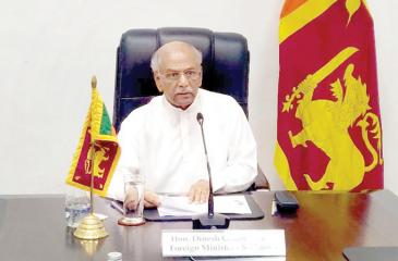 Foreign Minister Dinesh Gunawardena addressing the 20th Virtual Commonwealth Foreign Affairs Ministers Meeting