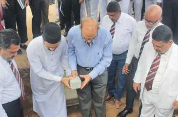 Firoze Limited Chairman and Phoenix Ventures Limited  Director   Mohamed Haji Omar laying the foundation stone in the presence of Zahira College principal Trizviy Marikkar, Chairman of the Board of Governors Fouzul Hameed, Old Boys Association President Naina Mohamed, Project Chairman Jisthy Fahmi and Ash Sheik Arkam Nooramith. Pic: by Ruzaik Farook