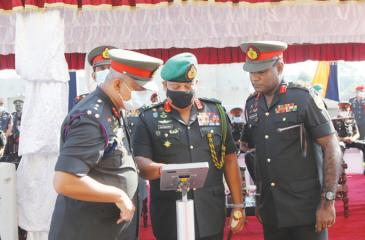 Army Commander Lt. Gen. Shavendra Silva inspects the drones