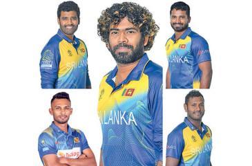 Thisara Perera, Dasun Shanaka, Lasith Malinga, Kusal Perera and Angelo Mathews