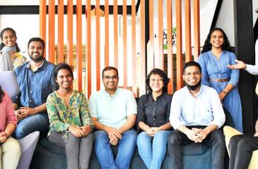 [L-R] Yoshana Premarathne (Program Coordinator), Shabnam Hilal (Social Impact Fellow), Abdul Baasit Sathar (Co-Founder/ Director), Madhavie Warnakulasuriya (Program Coordinator), Darshatha Gamage (Co-Founder/ Director), Gimhani Rathnayake (Manager - Communications and Advocacy), Mohamed Husni (Co-Founder/ Director), Hakshala David (Manager - Knowledge Management), Usama Liyaudeen (Manager - Community Relations & Engagement) and Gayathri Karannagoda (Program Analyst)