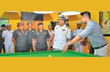 Officers from the Army which plays a leading role in sustaining sports in the country come together for a briefing on billiards and snooker