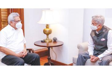 A discussion between President Gotabaya Rajapaksa and IndianExternal Affairs Minister Dr. Subrahmanyam Jaishankar at the Presidential Secretariat