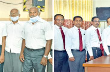 Ceylinco Life Directors led by Chairman R. Renganathan and Managing Director Thushara Ranasinghe at the presentation of essential medical equipment to the Valvettithurai Divisional Hospital (above) and the Base Hospital in Point Pedro (below).