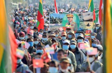 A rally took place in support of the military regime in the capital, Nay Pyi Taw