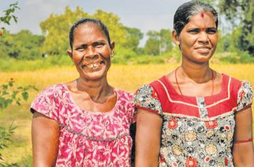 Two farmers from Manmunai West, Batticaloa engaged in the resilience building project