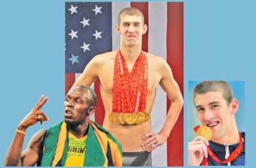 Usain Bolt in action-Michael Phelps – Eight Swimming Olympic Golds