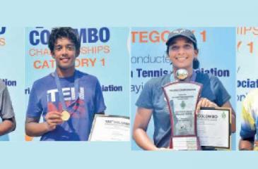 Chathurya Nilaweera (U-18 champ)-Kiran Vairavanathan  (U-16 champ)-Oneli Perera (U-18 champ)-Hasali Gajaba (U-16 champ)