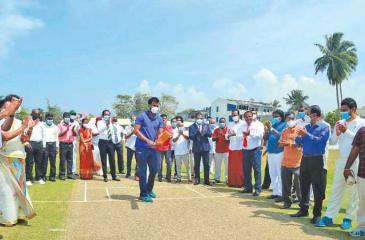 Sri Lanka cricketer Upul Tharanga demonstrates batting at the revamping of the cricket ground in Ambalangoda under the auspices of Sri Lanka Cricket