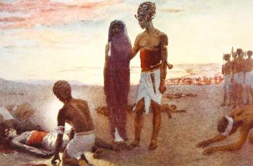 Seqenenre Tao's mutilated body being retrieved by his Queen and eldest son at the battlefield, painted by Winifred Mabel Brunton (South African, 1880-1959). From Hutchinson's History of the Nations, published 1915.