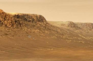 An artist's illustration of Perseverance rover exploring inside 45km-wide Jezero Crater, Mars. Picture: AFP/NASA/JPL-Caltech