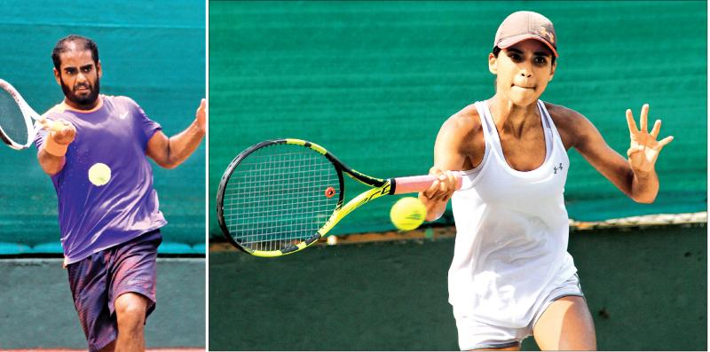 Sharmal Dissanayake and Anika Seneviratne in action on their way to winning the men's and women's Singles at the National tennis championships at the SLTA courts in Colombo yesterday.  Pix: Sulochana Gamage