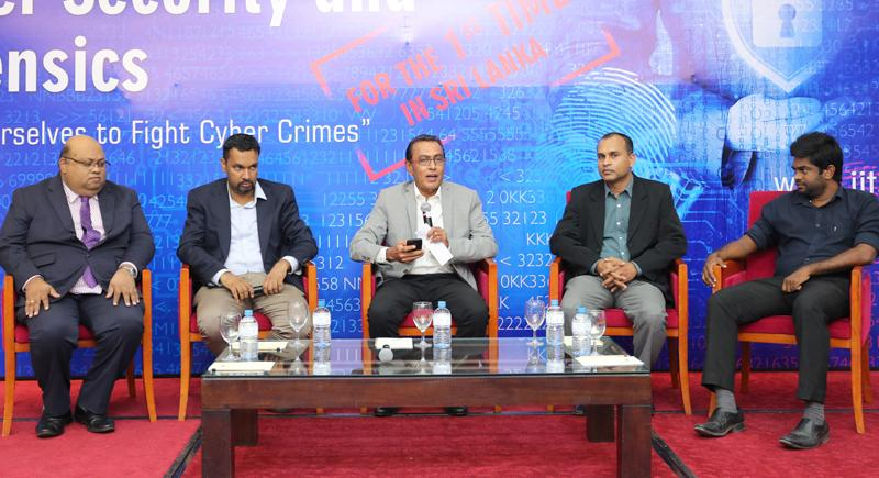 A panel discussion on importance of cyber security and forensics and education was also held. From left: Theekshana COO  Harsha Wijayawardhana, WSO2 Vice President, Research, Dr. Srinath Perera,  Moderator, CERT CEO Lal Dias, CERT CC, Director Operations, Rohana  Palliyaguru and IIT Senior Lecturer Saman Hettiarachchi.