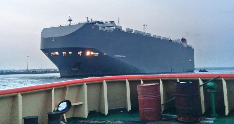 The 'Hyperion Highway' was escorted to international waters by the Navy.