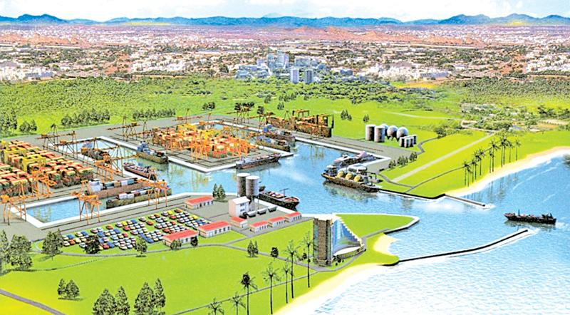 An artist's impression of the Magampura port in Hambantota