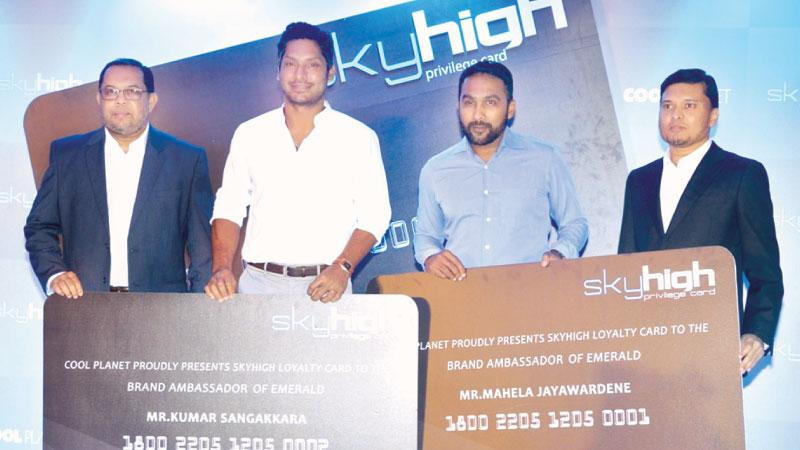 Cool Planet last week launched a loyalty card called Sky High which offers their customers a range of benefits. Emerald International (Pvt) Ltd which produces quality shirts was the Event Partner and Emerald's very own brand ambassadors, Kumar Sangakkara and Mahela Jayawardane were the Chief Guests on the occasion. Cool Planet CEO Rizwi Thaha (extreme left), and Managing Director of Cool Planet Nazme Nassri presented the first loyalty cards to Kumar Sangakkara and Mahela Jayawardane. Fashion conscious celeb