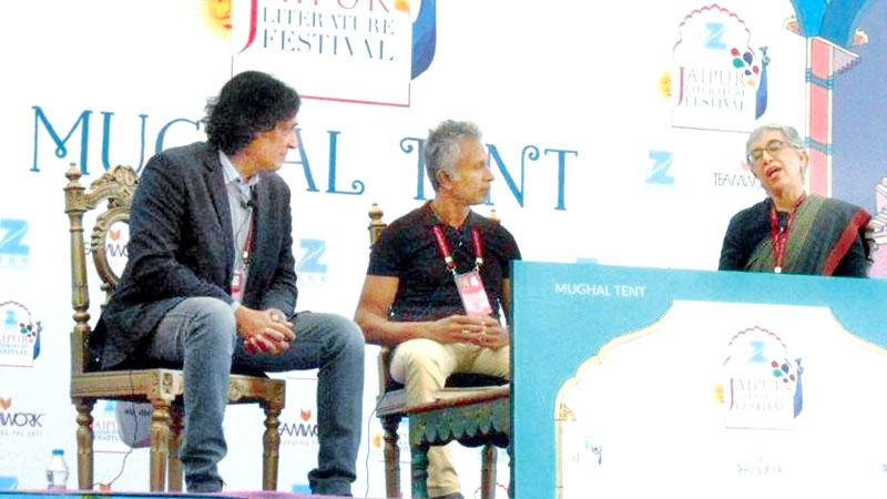 Ashok Ferrey moderating a session between Indian authors Tabish Khair and Manju Kapur