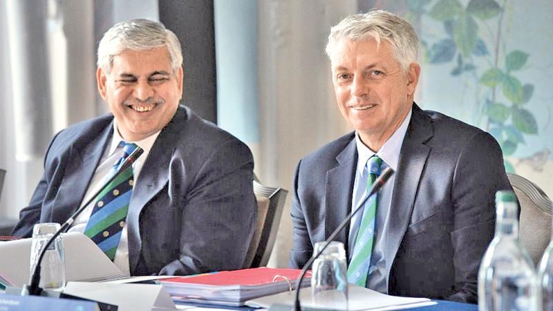 ICC chairman Shashank Manohar of India and ICC chief executive Dave   Richardson.