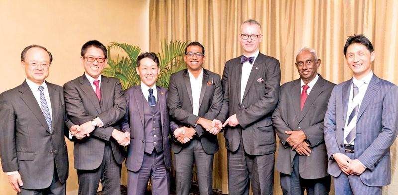 The signing of the agreement. From left: Director/Tokyo Kyodo Accounting, Yoshikazu Noda, Director, Shitatsyoji Co. Ltd, Tatsuhiro Shibata, Director, Sawada Co., Hiroki Sawada, Director, TAD Lanka Investments, Atheeq Ansar, Director, WQ Inc., Steffen Studeny, Director, Sierra Holdings, Frank Irugalbandara and Partner, Tokyo Kyodo Accounting, Ryutaro Uchiyama.