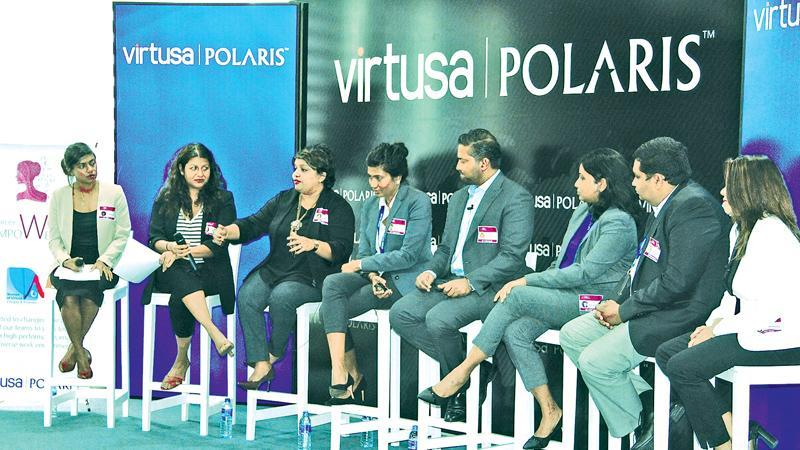 (From left): Anjali De Zoysa, Senior Consultant –VirtusaPolaris; Anjali Thalayasingam, Associate Director – VirtusaPolaris; Chinthi Weerasinghe, Vice President – VirtusaPolaris; Chandi Dharmaratne, Senior Director – VirtusaPolaris; Yohann De Zoysa, Director – Associated Motorways (AMW); Shehani Seneviratne, Chief Operating Officer – 99x Technology; Sanjeev Palihawadana, Vice President – VirtusaPolaris; and Sharmila Bandara, Marketing Director - Personal Care at Unilever Sri Lanka.