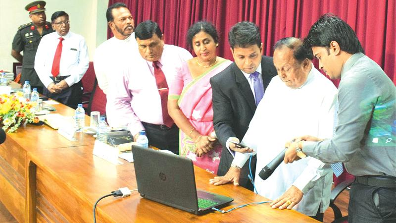 From Right : Minister of Internal Affairs, Wayamba Development and Cultural Affairs, S.B Navinna, Program Manager, ICT Agency of Sri Lanka, Shriyananda Rathnayake Director, Department of National Museums, Ms. Sanuja Kasthuriarachchi, Secretary, Minister of Internal Affairs, Wayamba Development and Cultural Affairs, D. Swarnapala, Deputy Minister of Internal Affairs, Wayamba Development and Cultural Affairs,  Palitha Thewarapperuma