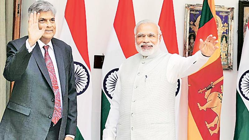 "Ranil Wickremesinghe and Narendra Modi  at ""Hyderabad House"""