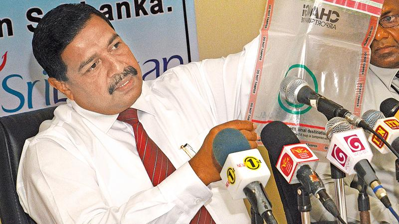 Civil Aviation Authority of Sri Lanka, Director Aviation Security, P.A. Jayakantha explains a point at the media briefing. Pic: Wimal Karunatilleke