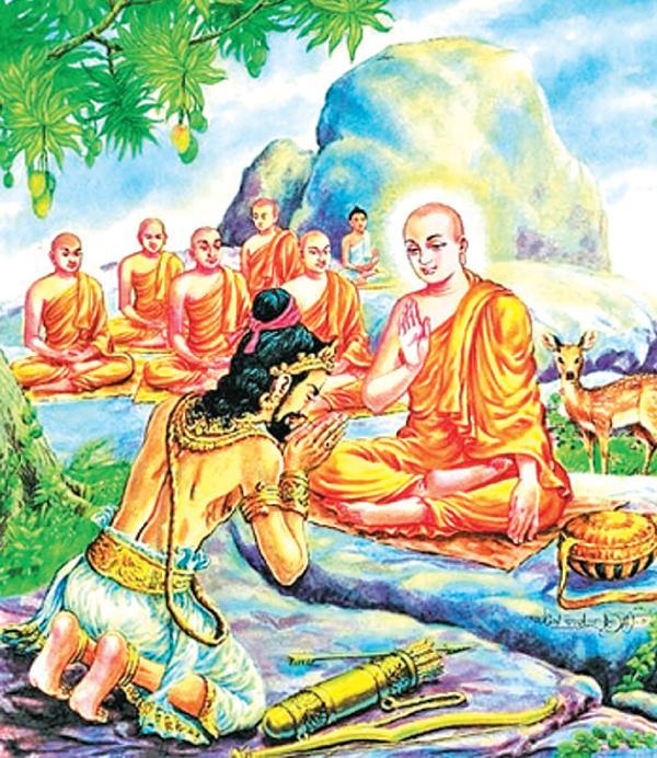 king devanampiyatissa An artist's creation of the meeting between ven mahinda thera and king devanampiyatissa near missaka.