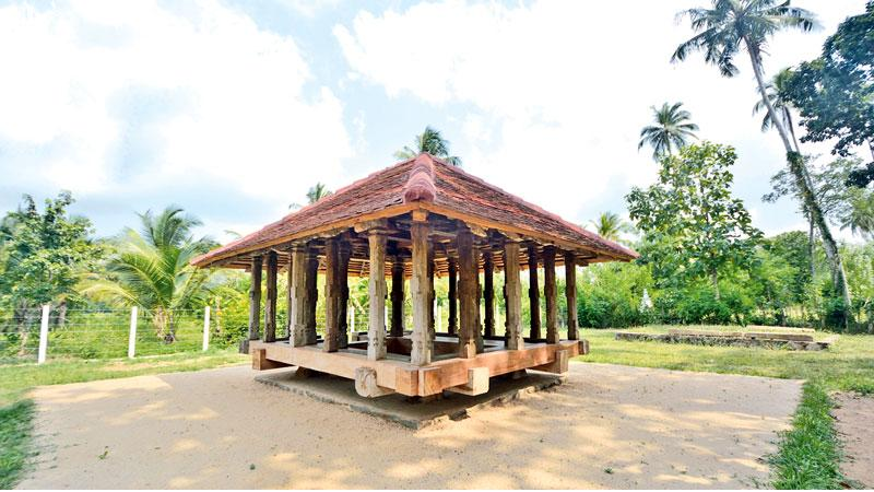 The magnificent Panavitiya Ambalama stands on  four solid rock stones  planted on the ground