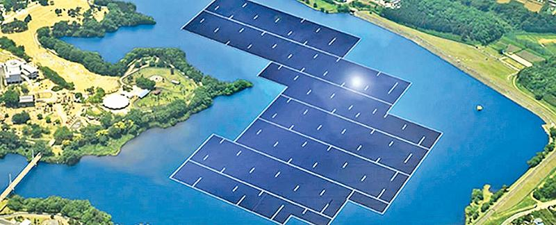 Image of one of the largest floating solar power plants in Japan; there is a strange silence regarding a project that was proposed to develop a 100MW, floating solar farm on the Maduru Oya Reservoir.