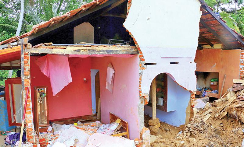 A house damaged due to the floods