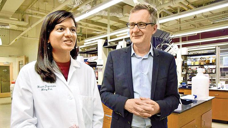 (Amy Davis / Baltimore Sun)   Hasini Jayatilaka, left, a post-doctoral fellow and Denis Wirtz, professor of chemical and biomedical engineering, who work together at the Institute of NanoBioTechnology at Johns Hopkins University, discuss their discovery that a biochemical signaling process that causes the spread of cancer cells can be slowed down with the use of two existing drugs.