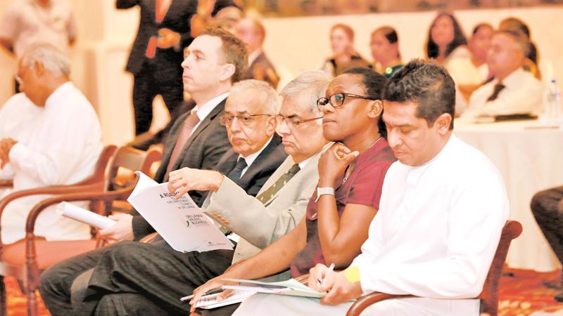 They mean business - Prime Minister Ranil Wickremesinghe with World Bank Country Director in Sri Lanka, Idah Z. Pswarayi-Riddihough, Minister for Development Strategies and International Trade, Malik Samarawickrama and Deputy Minister, Sujeewa Senasinghe at the launch of the Roadmap for Improving the Investment Climate.