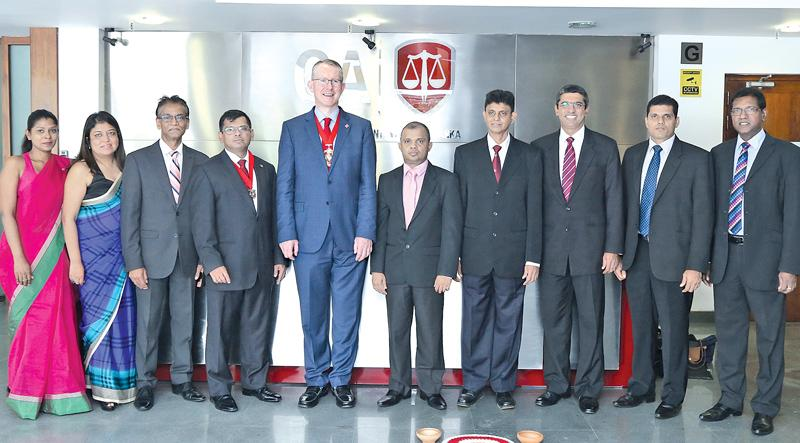 From left: Ruchera Jayawardena – BDM Employers and Members of ACCA Sri Lanka, Nilusha Ranasinghe – Head of ACCA Sri Lanka, Suren Rajakarier – Vice Chairman Network Panel of ACCA Sri Lanka, Adrian Perera – Chairman, Member Network Panel of ACCA Sri Lanka, Brian McEnery – ACCA Global President, Sanjaya Bandara – Council Member of CA Sri Lanka, Kapila Atukorala – Council Member of CA Sri Lanka, Dulitha Perera – Council Member of CA Sri Lanka, Tishan Subasinghe – Council Member of CA Sri Lanka and Aruna Alwis –
