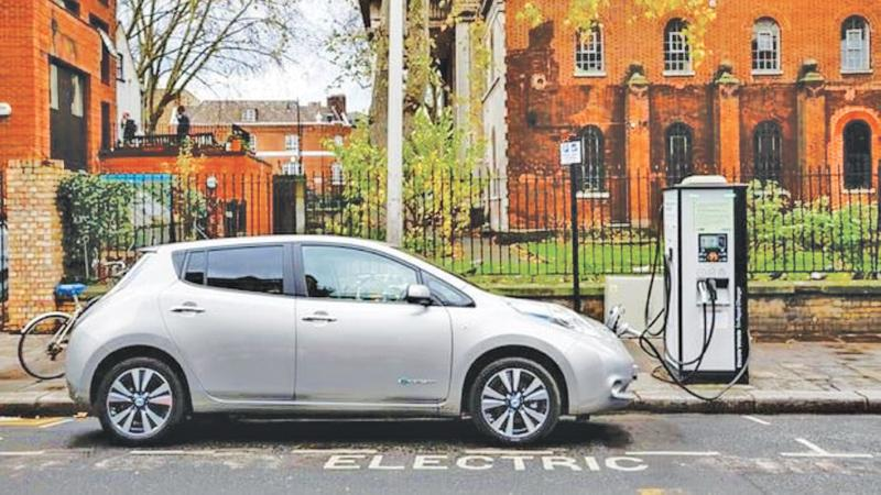 An electric vehicle on charge on a London street  Pic: Miles Willis/Getty Images for Go Ultra Low