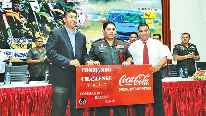 (L-R) Country Sales and Commercial Manager Shamal Gunawardene, Chairman Commando Challenge 2017 Major General, Ralph Nugera and President, SLARDAR Nishan Wasalathanthri.