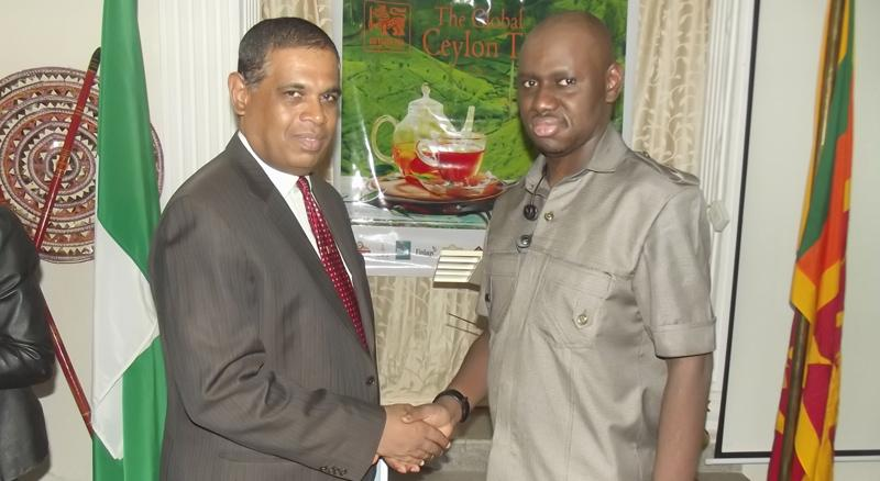 High Commissioner of Sri Lanka in Nigeria, Thambirajah Raveenthiran  with a guest