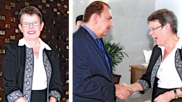 [Left]Canadian High Commissioner Shelley Whiting. [Right] UAE Ambassador Abdul Hamid Al Mulla bids farewell to the Canadian High Commissioner.
