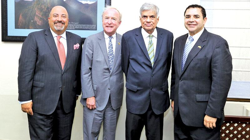 US Ambassador Atul Keshap, Congressmen Rodney Frelinghuysen and  Henry Cuellar with Prime Minister Wickremesinghe at Temple Trees.