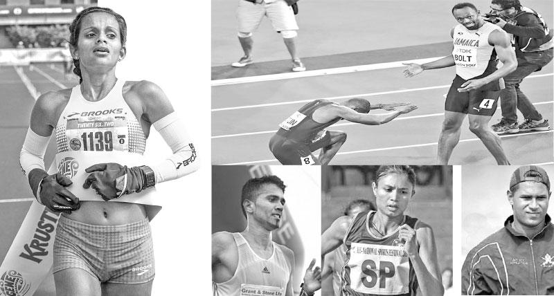 Hiruni Wijayaratne-Anuradha Indrajith Cooray-Nimali Liyanarachchi-Waruna Lakshan Dayaratne-USA's Justin Galin salutes Jamaican Usain Bolt after he ended the dominance of undisputed sprint king
