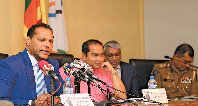Minister of Sports Dayasiri Jayasekera addressing Mediamen. Also in the picture are from left Western Province Chief Minister, Isusuru Devapriya, CEO Sri Lankan Airlines, Suren Ratwatte. Picture by Rukmal Gamage