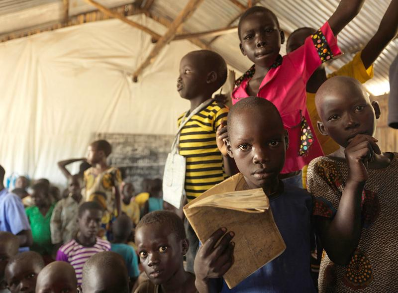 Children at one of the camp's purpose-built schools. It is hugely overcrowded, with classes of more than 300 pupils at a time. Pic: Peter Caton/UNHCR