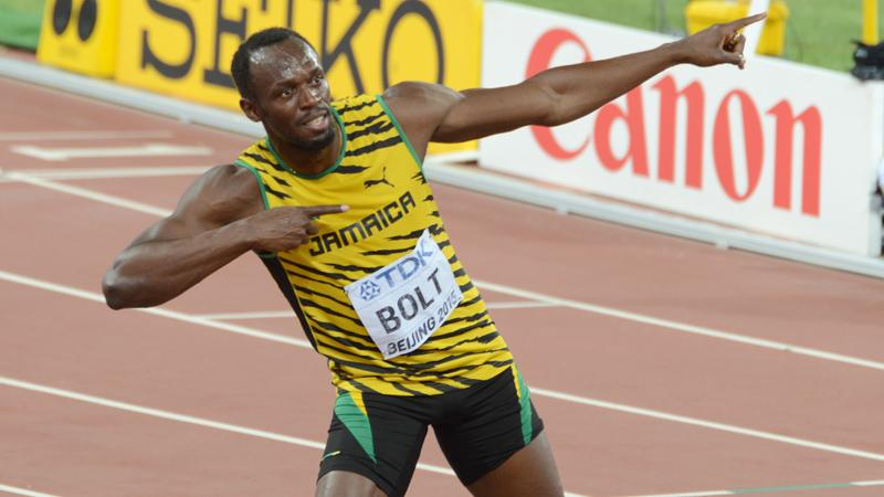 Bolt's customary style of celebrating victory